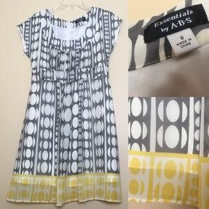 ABS Essentials Mod Circle Dots Gray Yellow Dress 8